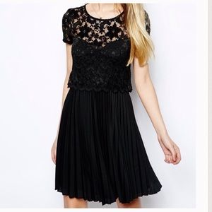 ASOS black lace overlay scalloped edge dress-Size4